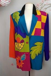 Vintage Fall Color Block Blazer